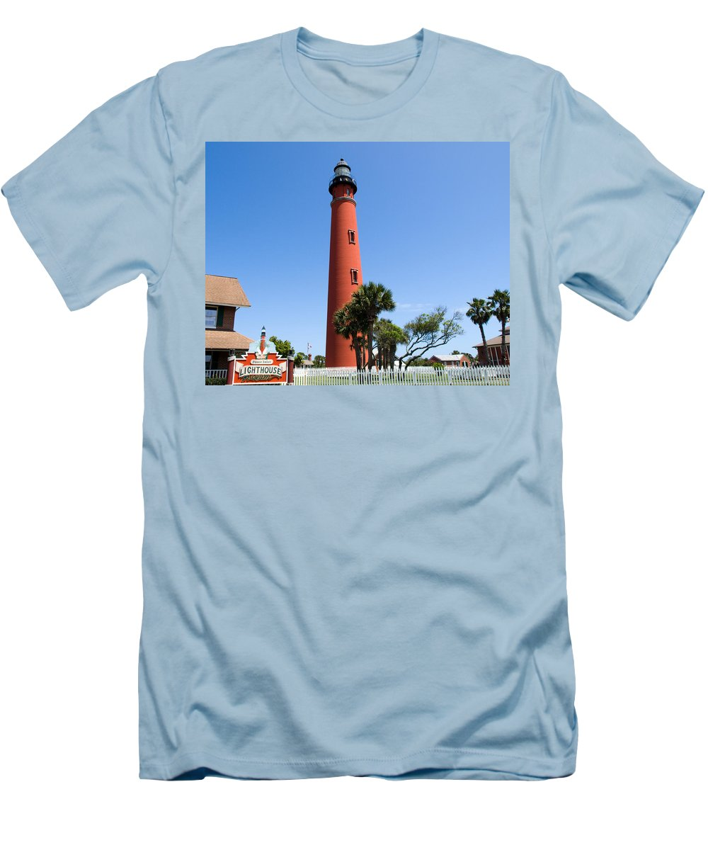 Ponce; De; Leon; Lighthouse; Light; House; Beacon; Navigation; Aid; Lens; Fresnel; Mosquito; Florida Men's T-Shirt (Athletic Fit) featuring the photograph Ponce De Leon Inlet Lighthouse by Allan Hughes