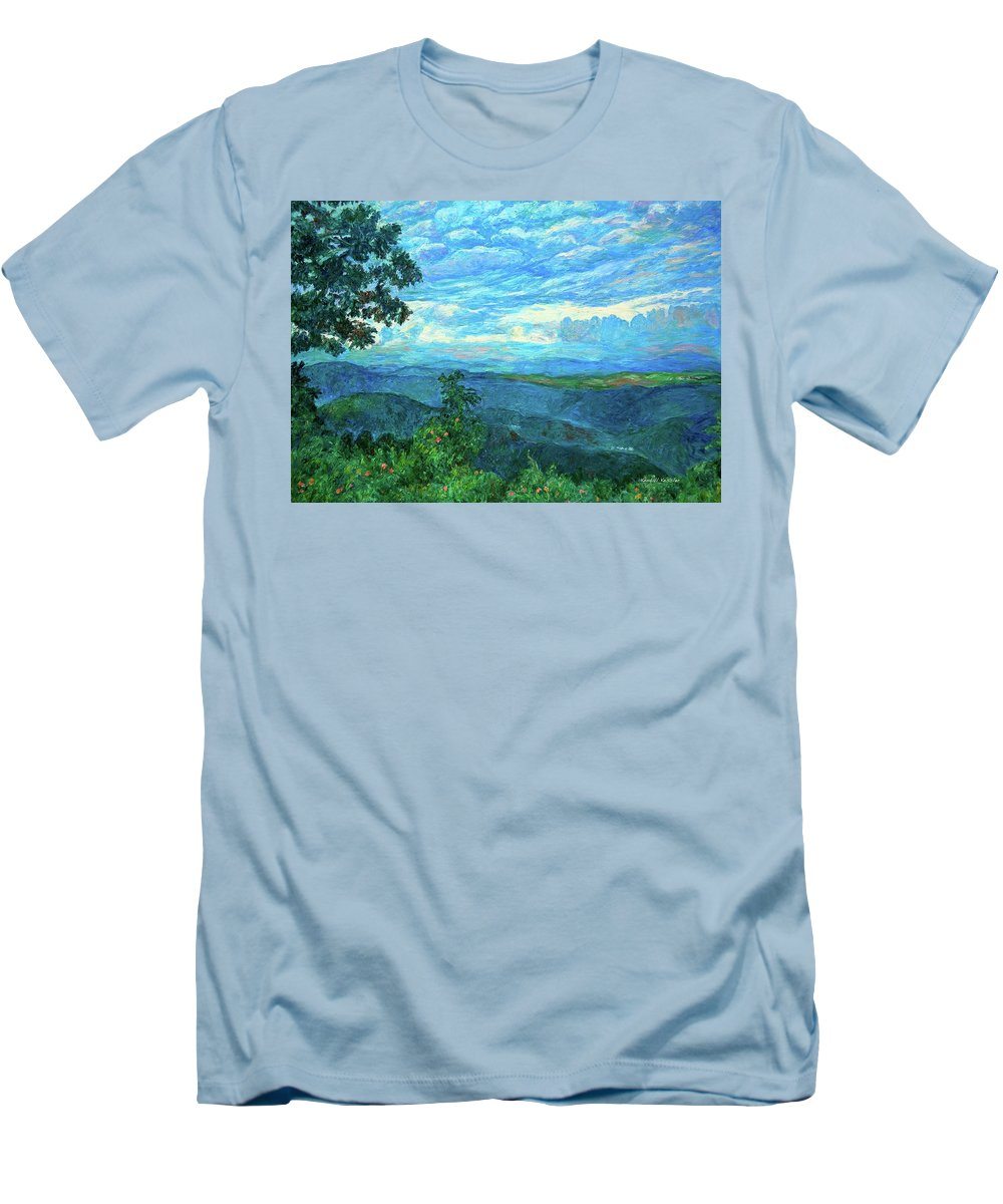 Mountains Men's T-Shirt (Athletic Fit) featuring the painting A Break In The Clouds by Kendall Kessler