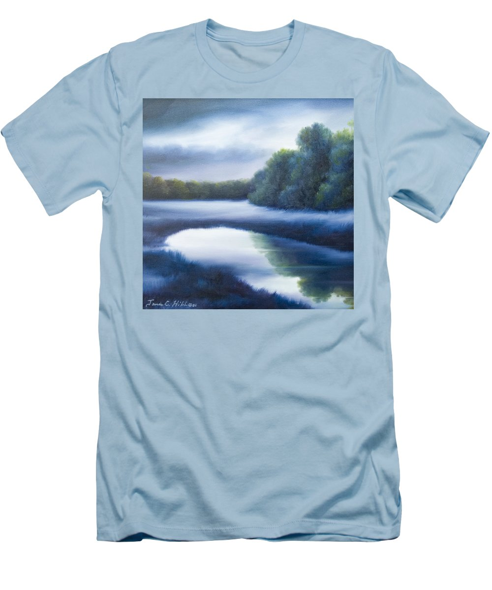 Nature; Lake; Sunset; Sunrise; Serene; Forest; Trees; Water; Ripples; Clearing; Lagoon; James Christopher Hill; Jameshillgallery.com; Foliage; Sky; Realism; Oils; Green; Tree; Blue; Pink; Pond; Lake Men's T-Shirt (Athletic Fit) featuring the painting A Day In The Life 4 by James Christopher Hill