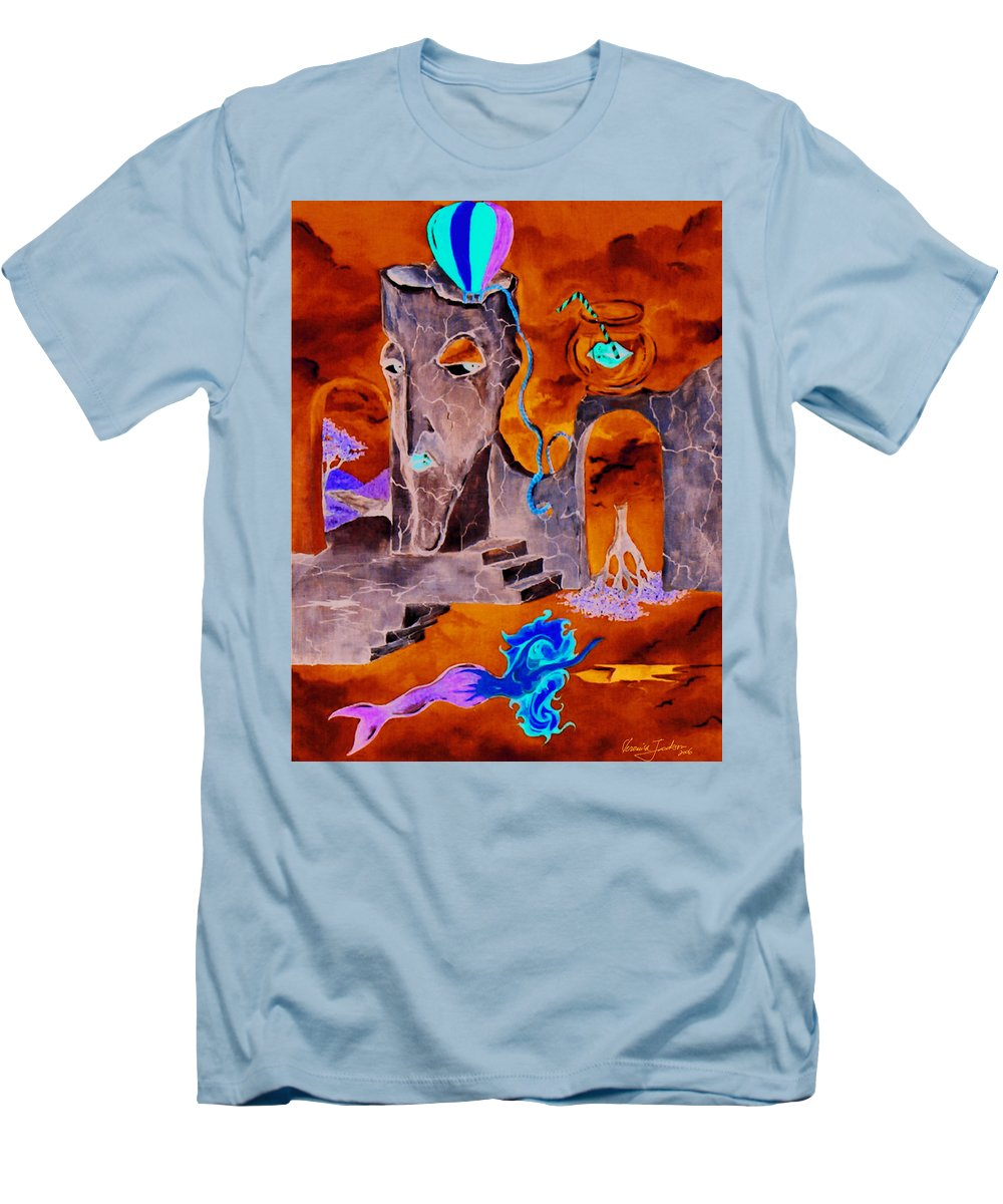 Surreal Sky Mermaids Trees Stairs Heaven Men's T-Shirt (Athletic Fit) featuring the painting A Few Seconds In My Head by Veronica Jackson