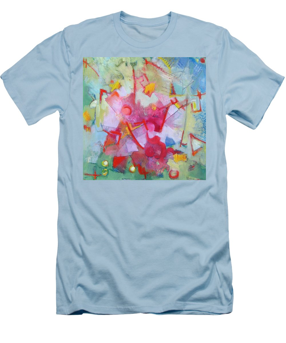 Abstract Men's T-Shirt (Athletic Fit) featuring the painting Abstract 2 With Inscribed Red by Susanne Clark