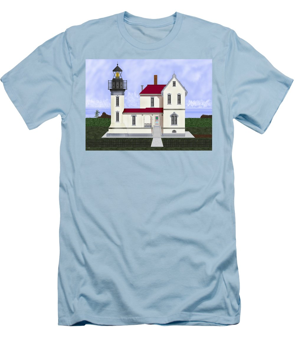 Admiralty Head Men's T-Shirt (Athletic Fit) featuring the painting Admiralty Head Light Station Circa 1920 by Anne Norskog