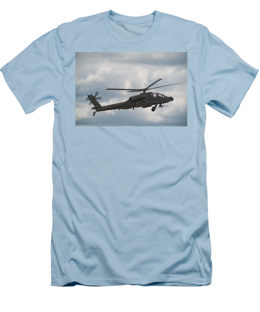 Helicopter Men's T-Shirt (Athletic Fit) featuring the photograph Ah-64 Apache by Sebastian Musial