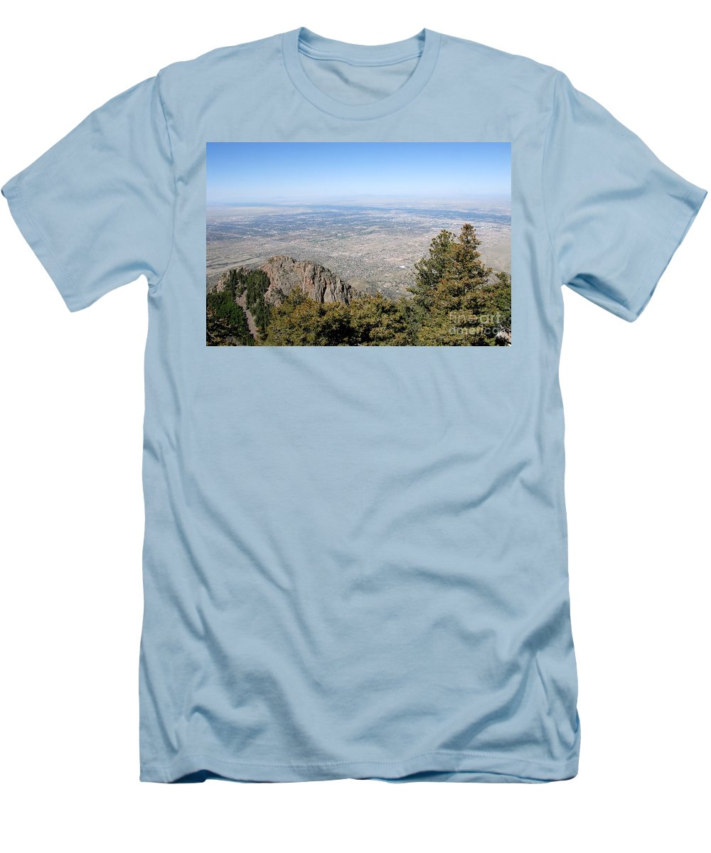 Albuquerque Men's T-Shirt (Athletic Fit) featuring the photograph Albuquerque And The Rio Grande by David Lee Thompson
