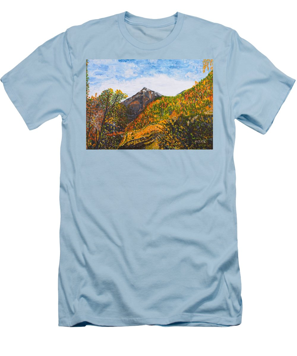 Landscape Men's T-Shirt (Athletic Fit) featuring the painting Algund View by Valerie Ornstein