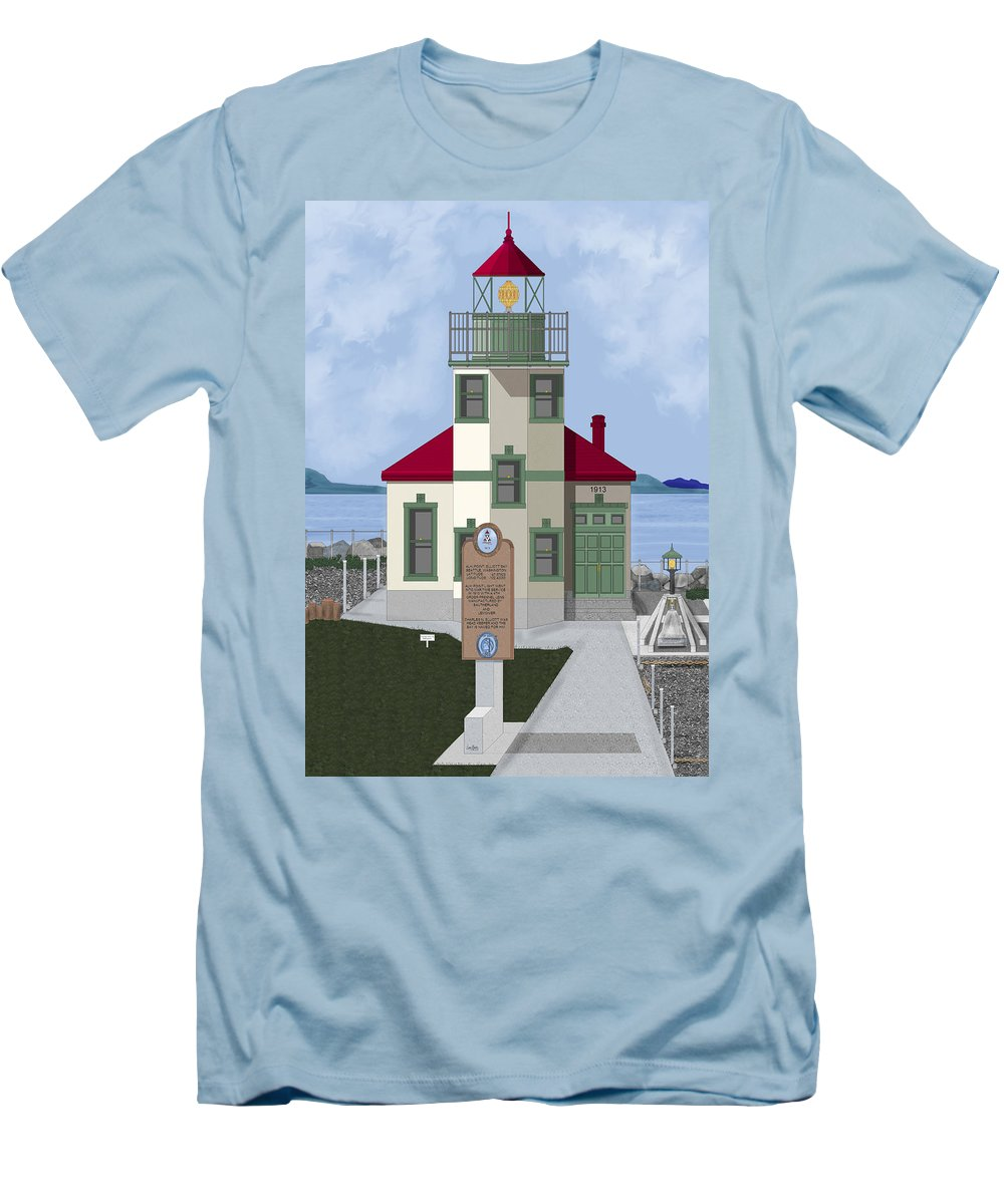 Lighthouse Men's T-Shirt (Athletic Fit) featuring the painting Alki Point On Elliott Bay by Anne Norskog