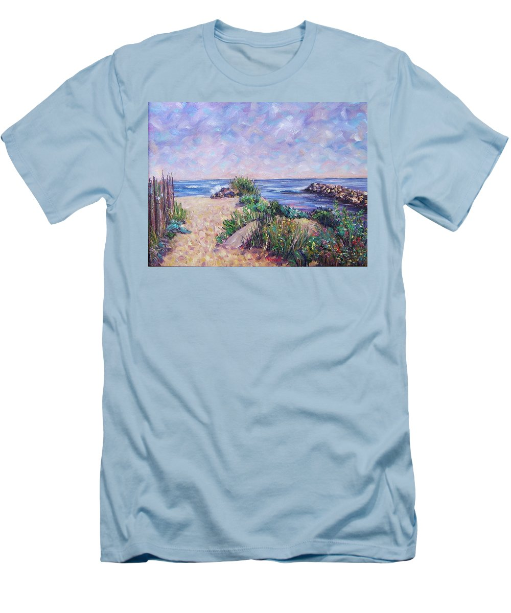Shore Men's T-Shirt (Athletic Fit) featuring the painting Along The Breachway Rhode Island by Richard Nowak