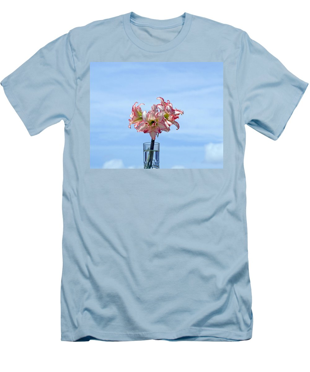 Amaryllis; Belladonna; Lily; Naked; Ladies; Lady; Florida; Spring; Sky; Bloom; Blooming. Flower; Blo Men's T-Shirt (Athletic Fit) featuring the photograph Amaryillis Belladonna Against The Spring Florida Sky by Allan Hughes