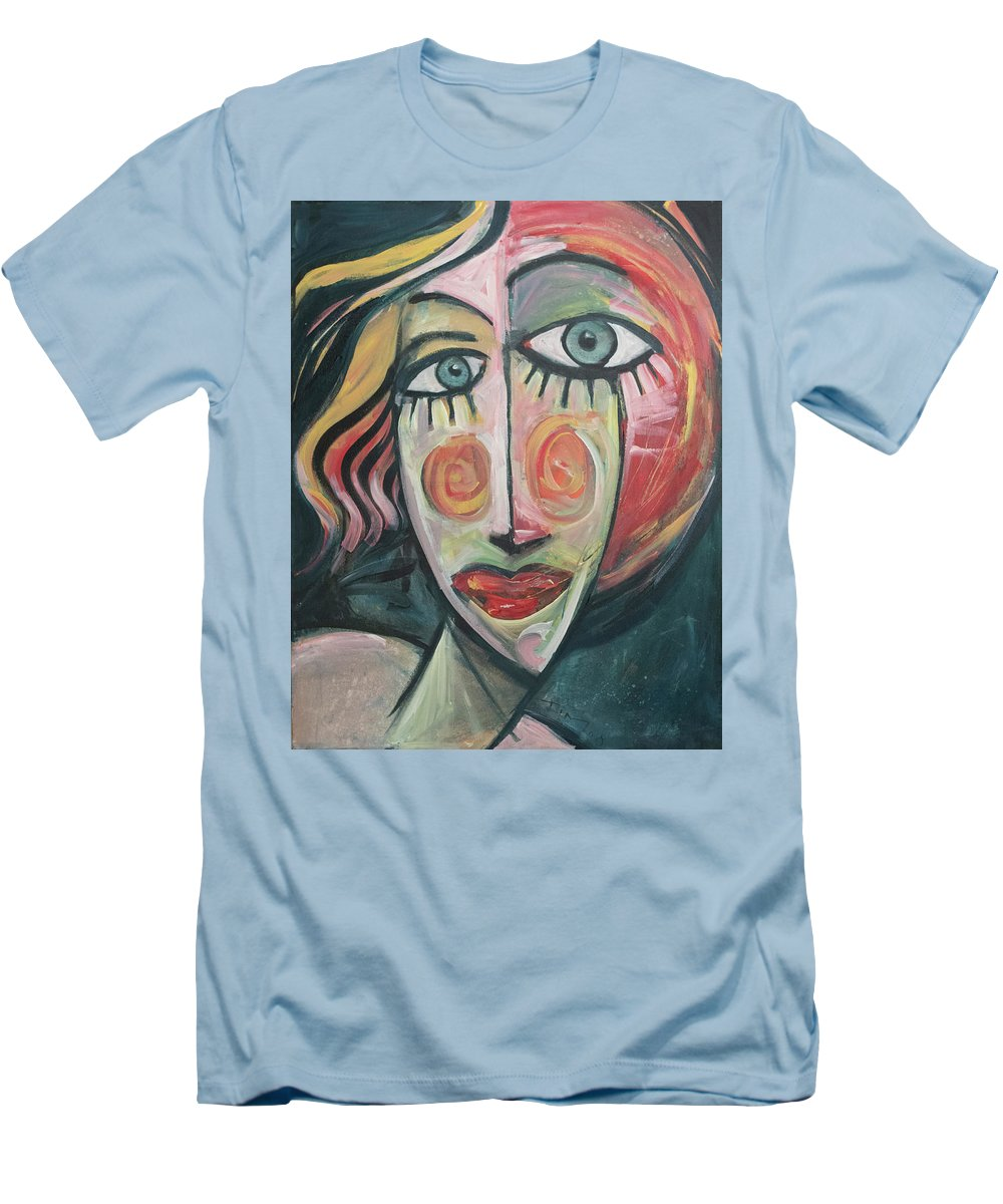 Woman Men's T-Shirt (Athletic Fit) featuring the painting Amber by Tim Nyberg