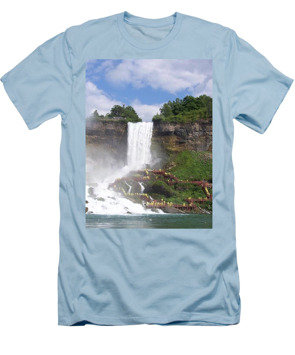 Niagra Falls Men's T-Shirt (Athletic Fit) featuring the photograph American Falls At Niagra by Laurie Paci