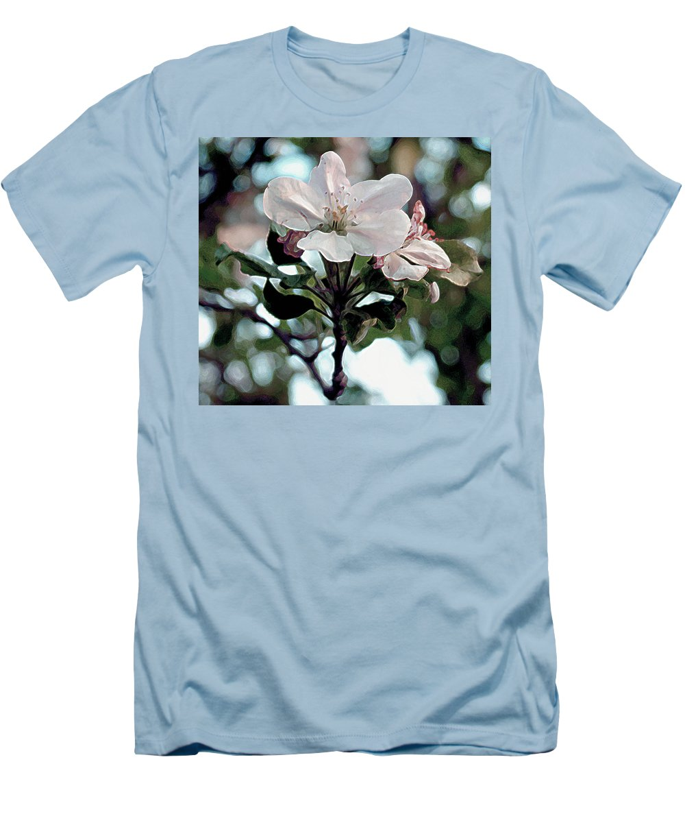 Flowers Men's T-Shirt (Athletic Fit) featuring the painting Apple Blossom Time by RC DeWinter