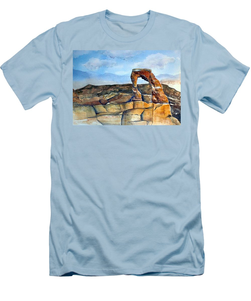 Arches National Park Men's T-Shirt (Athletic Fit) featuring the painting Arches National Park by Debbie Lewis