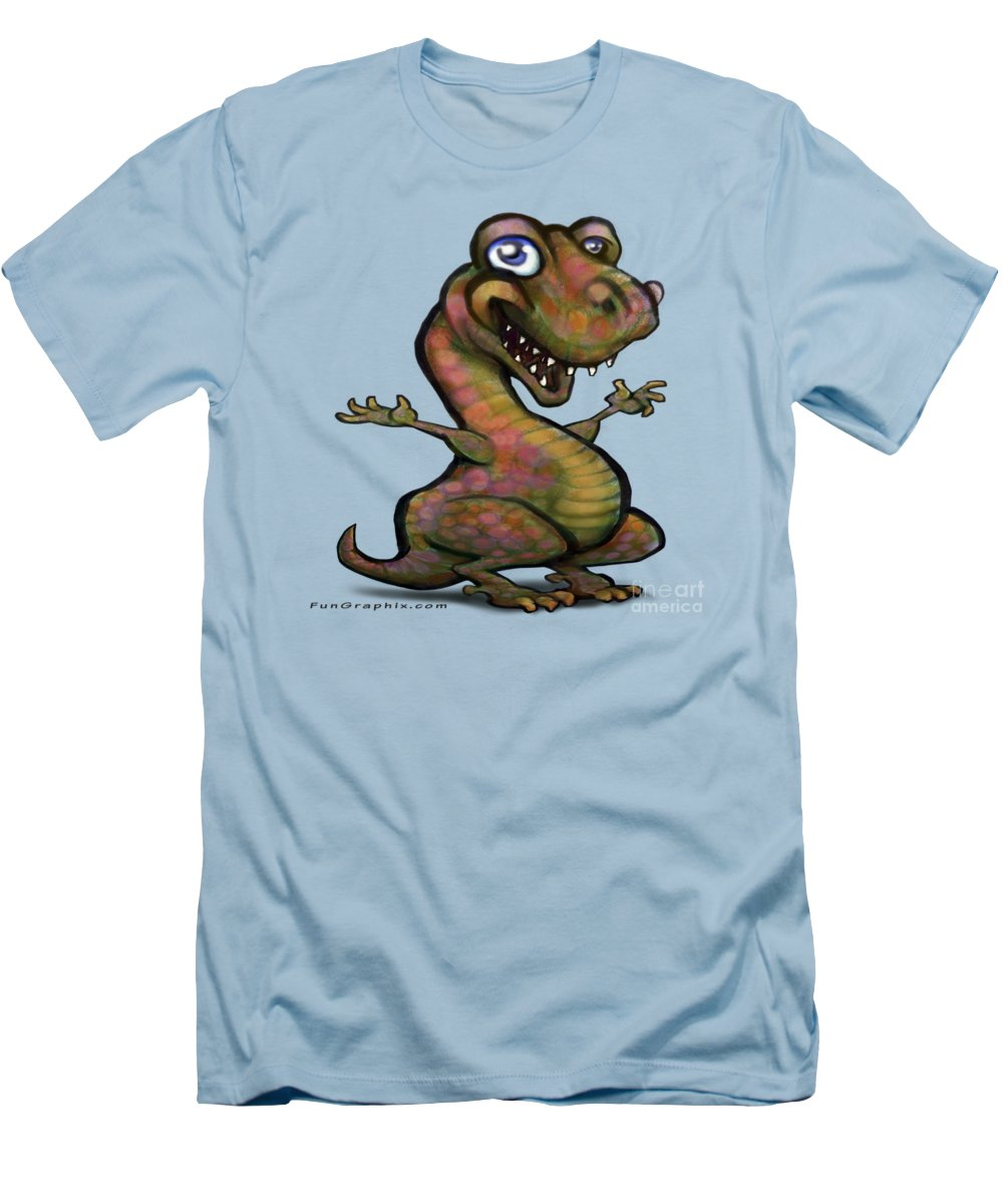 Baby Men's T-Shirt (Athletic Fit) featuring the painting Baby T-rex Blue by Kevin Middleton
