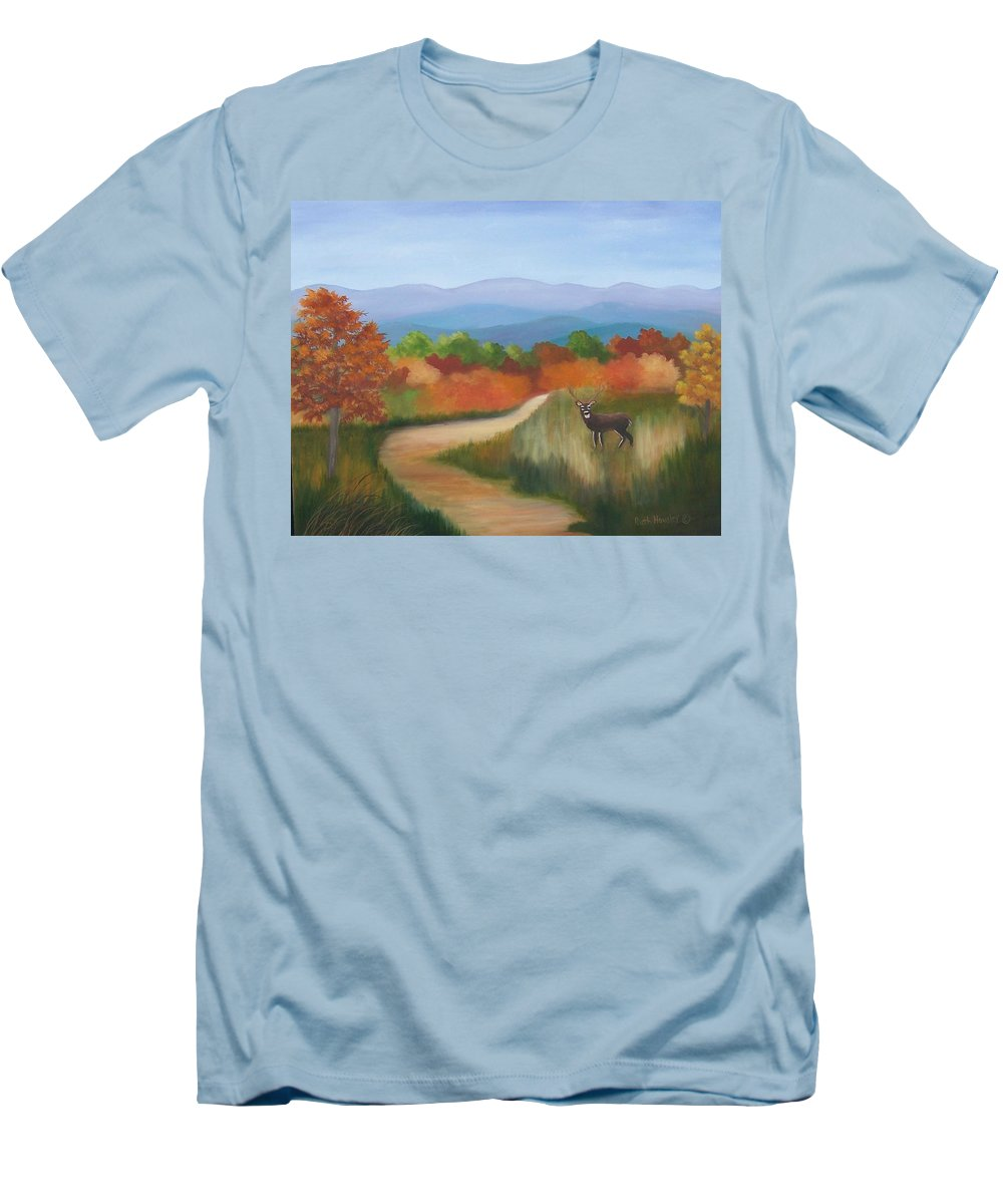 Mountains Men's T-Shirt (Athletic Fit) featuring the painting Autumn In Blue Ridge Mountains Virginia by Ruth Housley