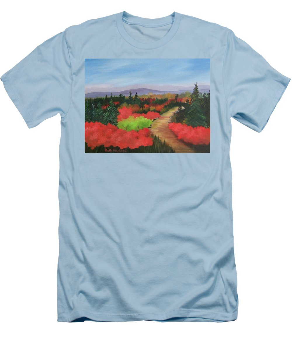 Landscape Men's T-Shirt (Athletic Fit) featuring the painting Autumn On Dolly Sods by Ruth Housley