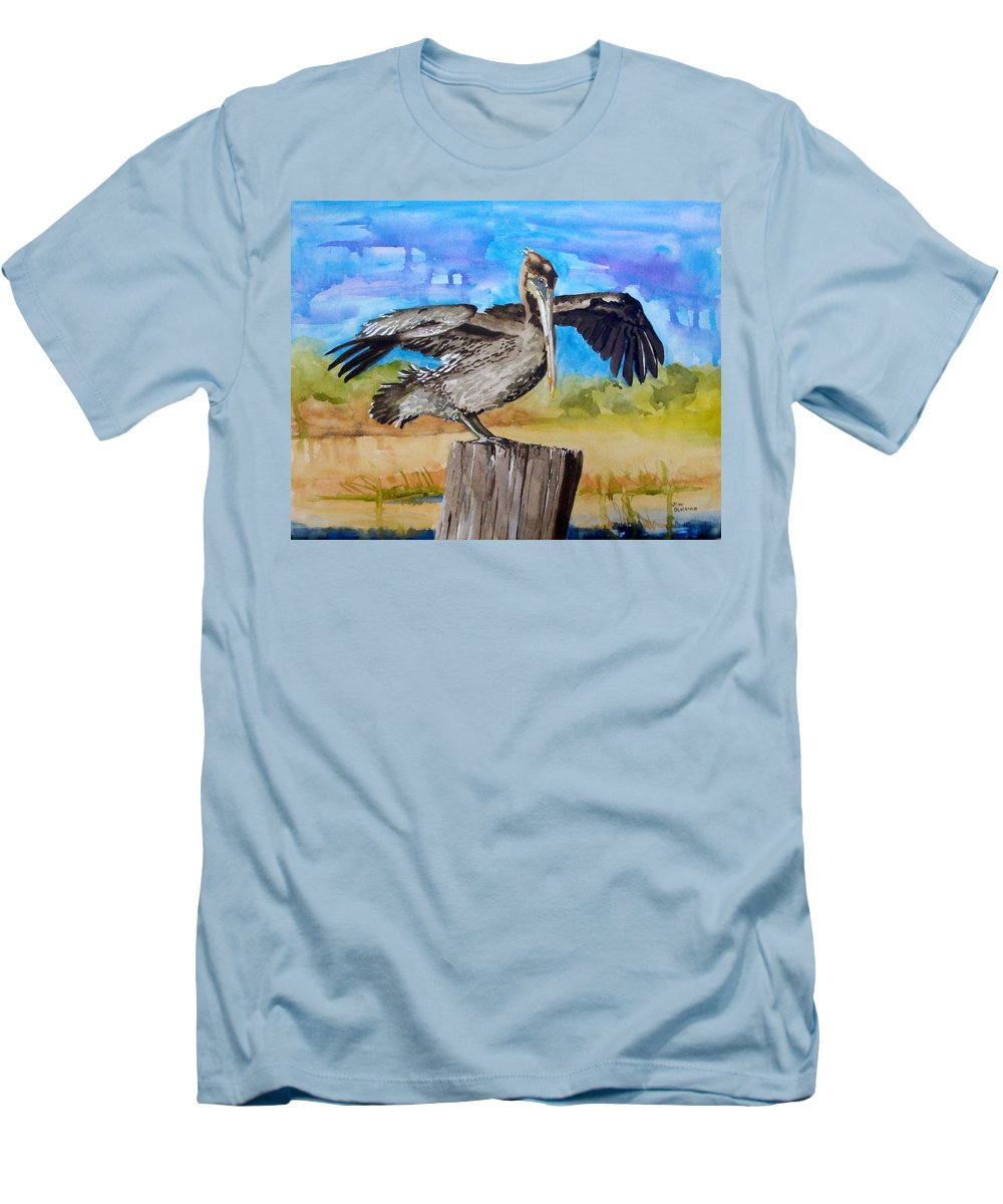 Pelican Men's T-Shirt (Athletic Fit) featuring the painting Baby Spreads His Wings by Jean Blackmer