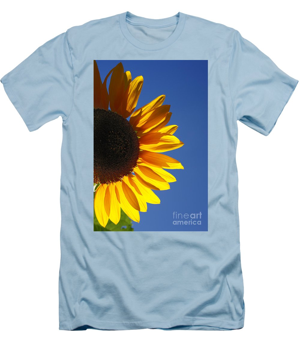 Back Light Men's T-Shirt (Athletic Fit) featuring the photograph Backlit Sunflower by Gaspar Avila