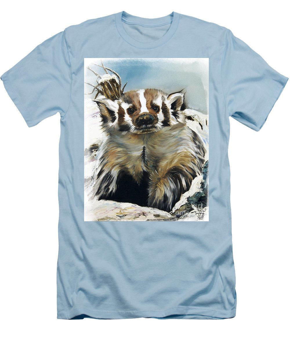 Southwest Art Men's T-Shirt (Athletic Fit) featuring the painting Badger - Guardian Of The South by J W Baker