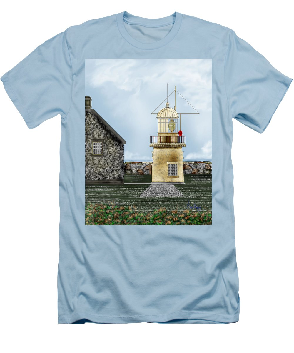 Lighthouse Men's T-Shirt (Athletic Fit) featuring the painting Ballinacourty Lighthouse At Waterford Ireland by Anne Norskog