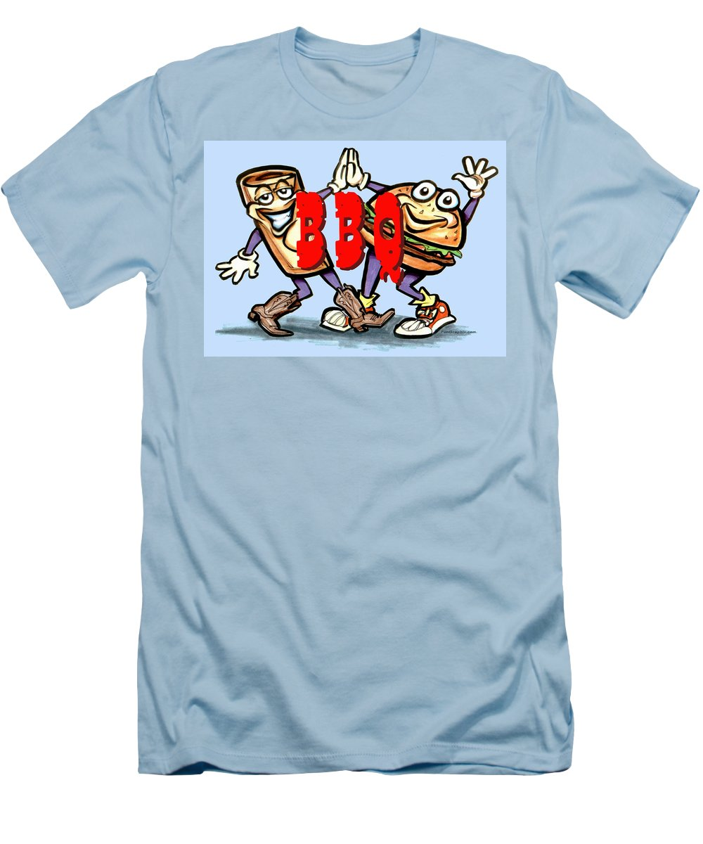 Bbq Men's T-Shirt (Athletic Fit) featuring the greeting card Bar-b-q by Kevin Middleton
