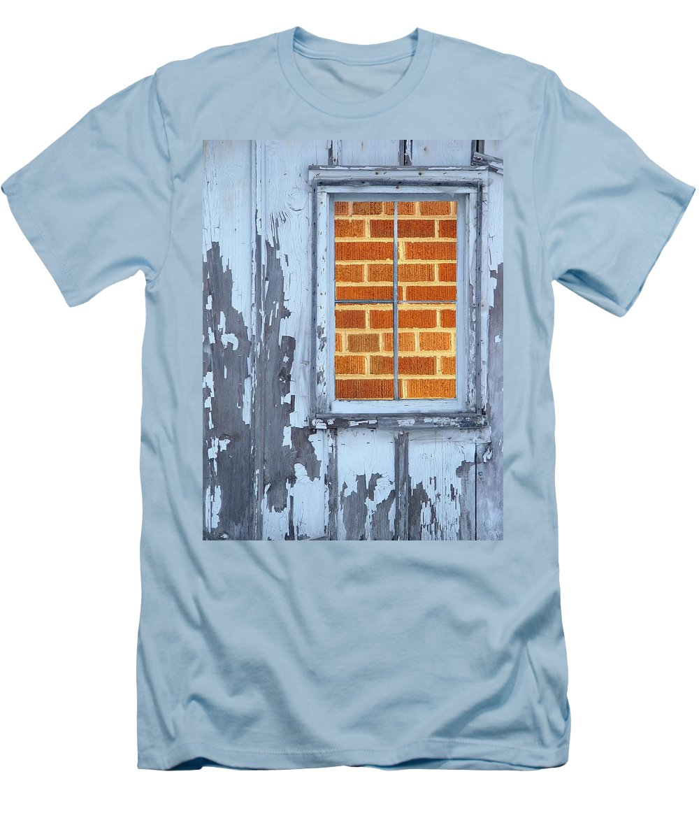 Barn Men's T-Shirt (Athletic Fit) featuring the photograph Barn Brick Window by Tim Allen