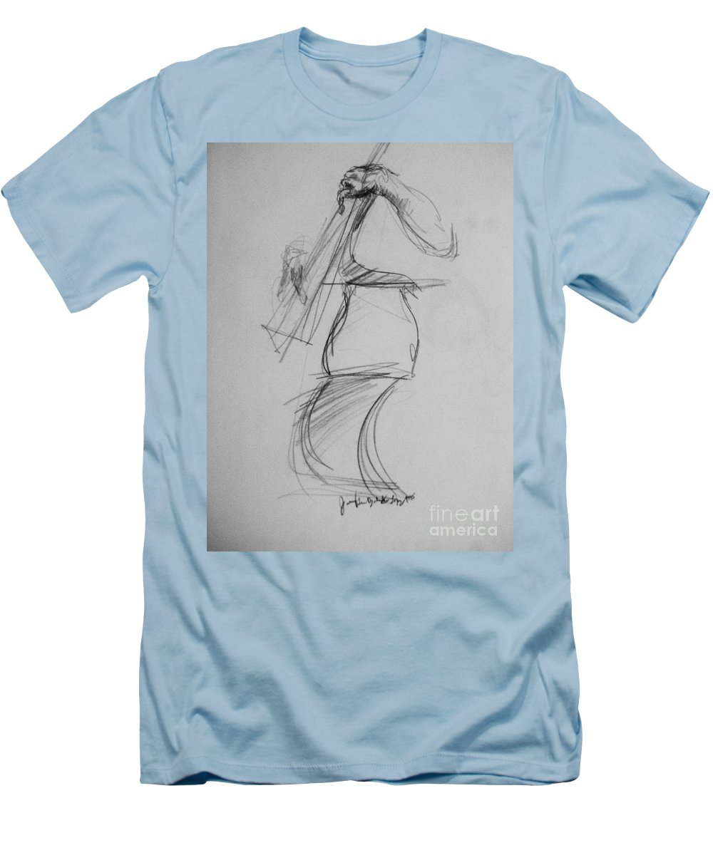 Bass Men's T-Shirt (Athletic Fit) featuring the drawing Bass Man by Jamey Balester