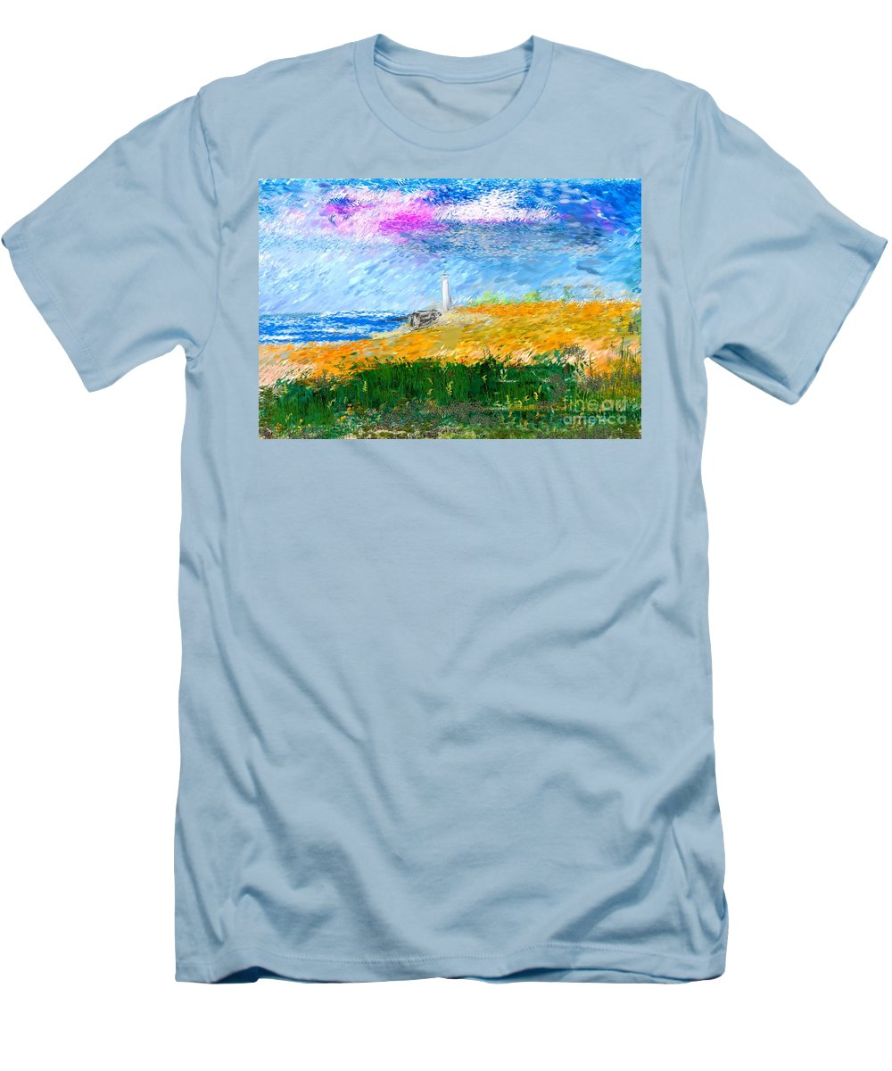 Digital Painting Men's T-Shirt (Athletic Fit) featuring the digital art Beach Lighthouse by David Lane