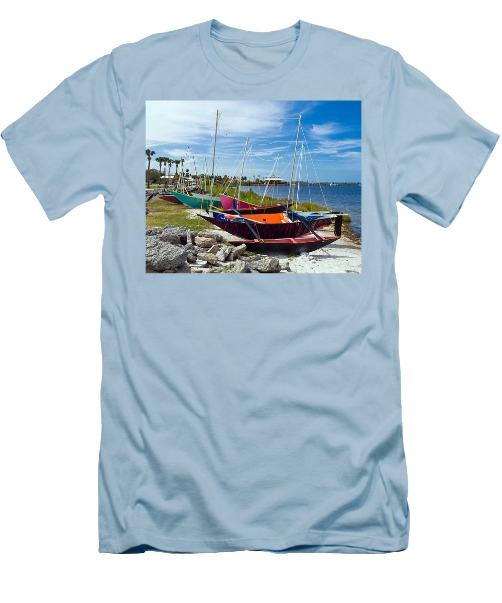 Sail; Sailing; Boat; Sailboat; Mast; Plywood; Homemade; Boy; Scouts; Fleet; Class; Dragon; Tiller; F Men's T-Shirt (Athletic Fit) featuring the photograph Beached In Sebastian Florida by Allan Hughes