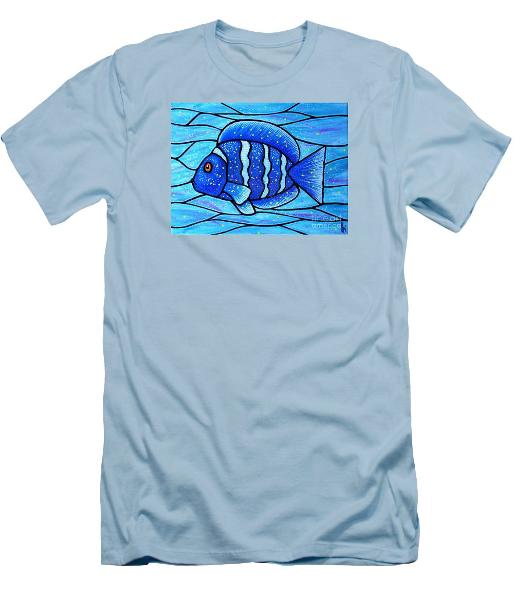 Tropical Fish Men's T-Shirt (Athletic Fit) featuring the painting Beckys Blue Tropical Fish by Jim Harris