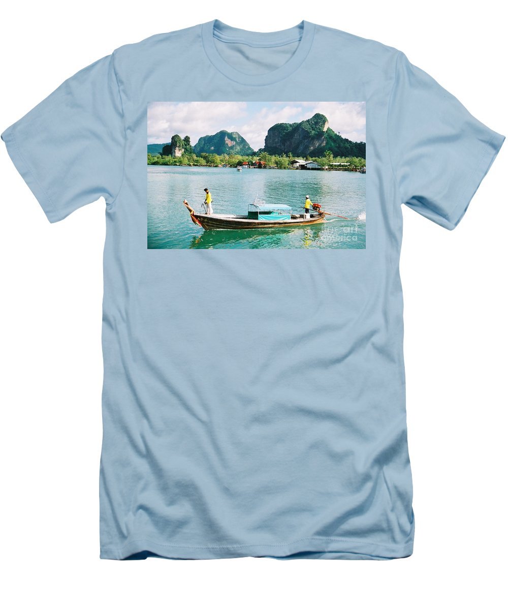 Boats Men's T-Shirt (Athletic Fit) featuring the photograph Before The Tsunami by Mary Rogers