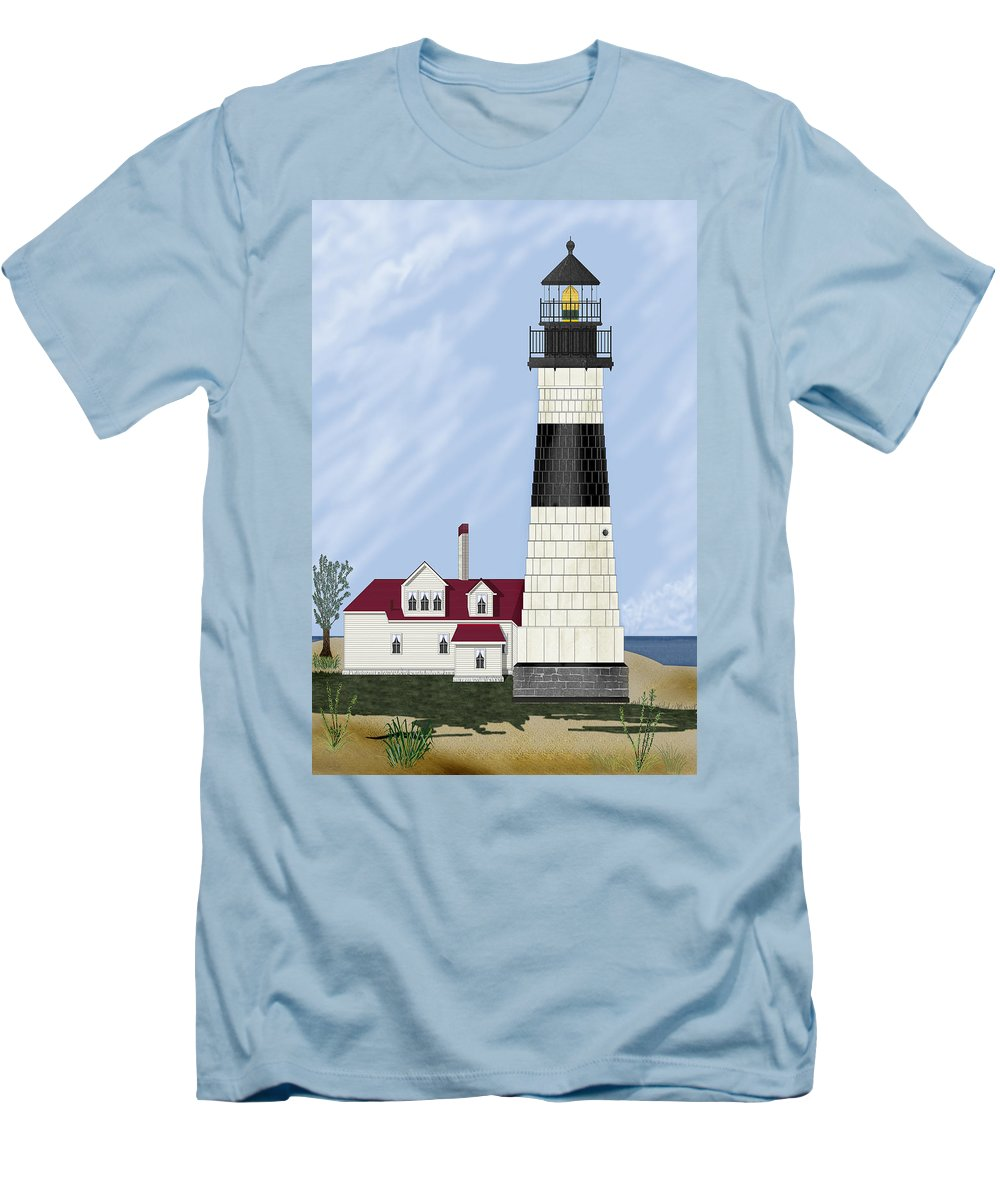 Big Sable Michigan Lighthouse Men's T-Shirt (Athletic Fit) featuring the painting Big Sable Michigan by Anne Norskog