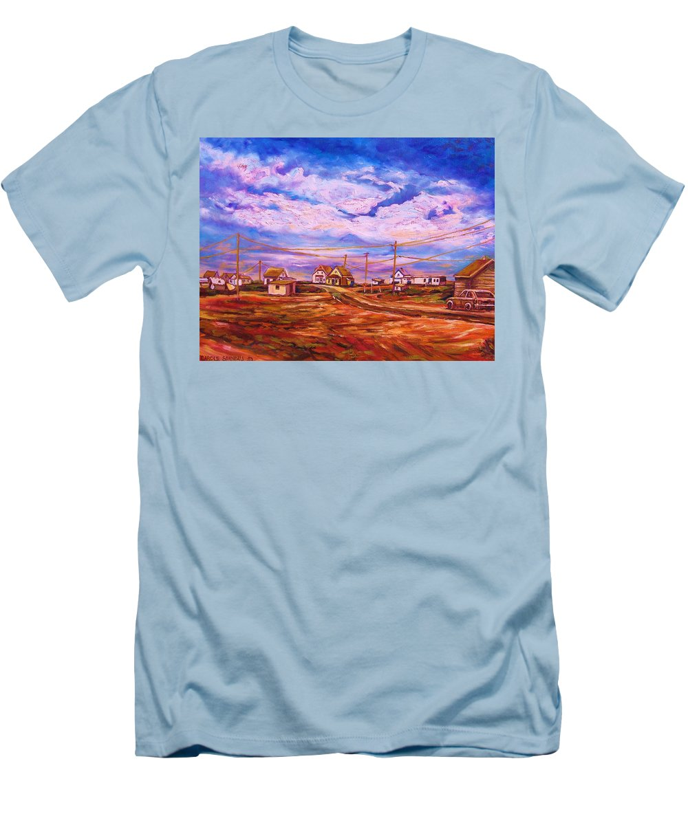 Cloudscapes Men's T-Shirt (Athletic Fit) featuring the painting Big Sky Red Earth by Carole Spandau