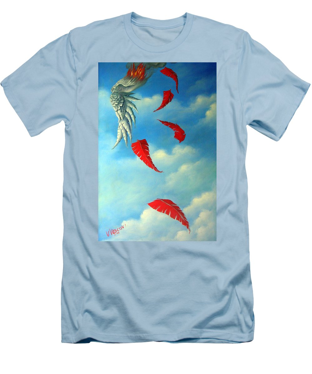 Surreal Men's T-Shirt (Athletic Fit) featuring the painting Bird On Fire by Valerie Vescovi