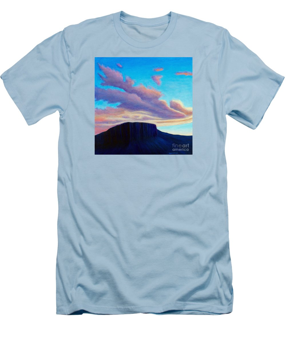 Landscape Men's T-Shirt (Athletic Fit) featuring the painting Black Mesa Sunset by Brian Commerford