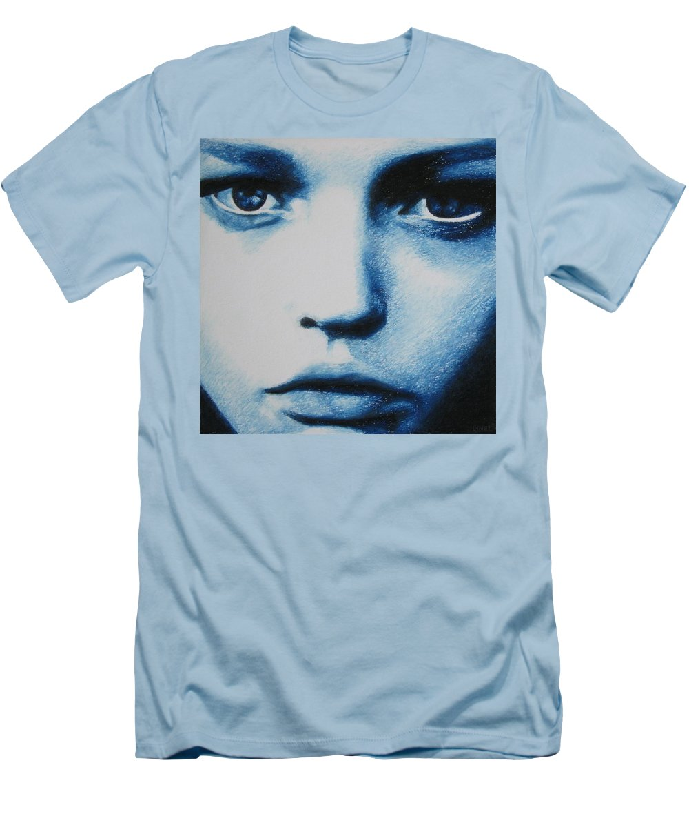 Girl Men's T-Shirt (Athletic Fit) featuring the painting Blue by Lynet McDonald