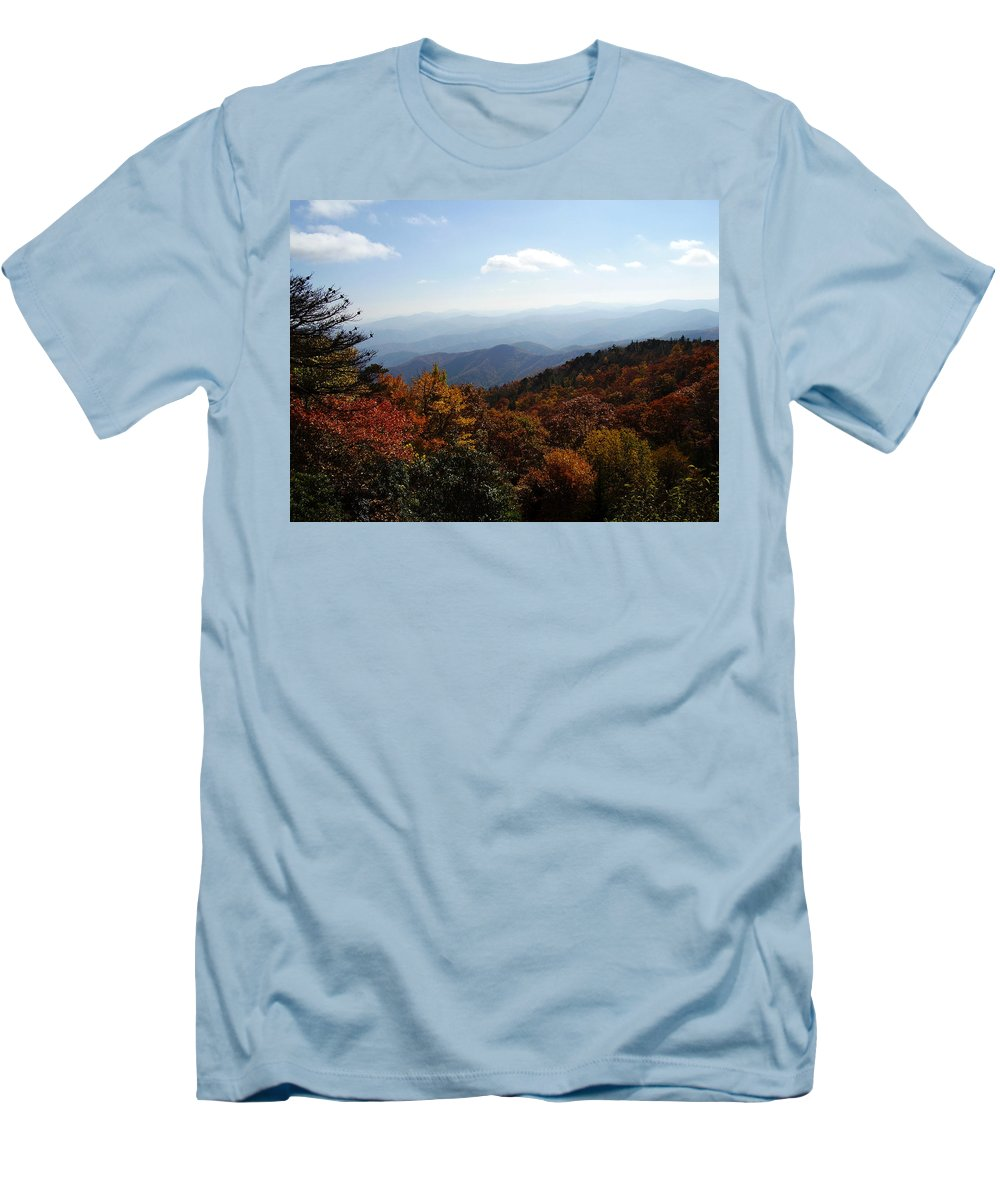 Blue Ridge Mountains Men's T-Shirt (Athletic Fit) featuring the photograph Blue Ridge Mountains by Flavia Westerwelle