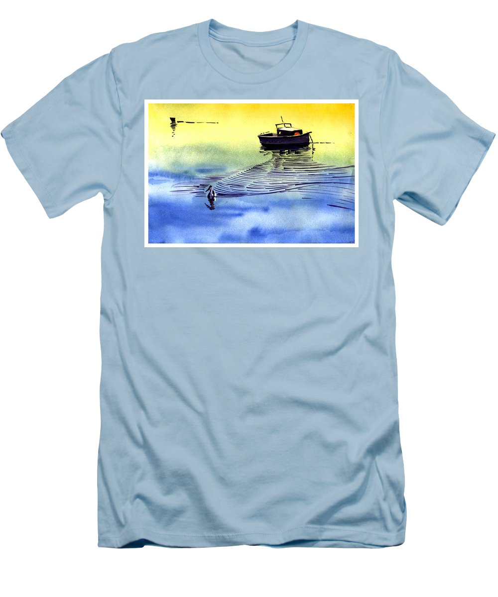 Watercolor Men's T-Shirt (Athletic Fit) featuring the painting Boat And The Seagull by Anil Nene