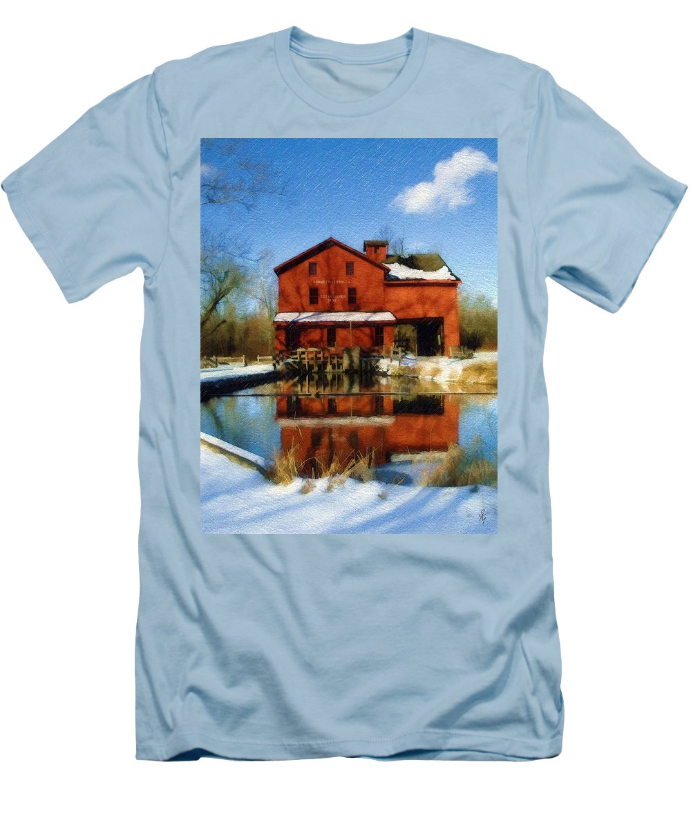 Bonneyville Mill Men's T-Shirt (Athletic Fit) featuring the photograph Bonneyville In Winter by Sandy MacGowan