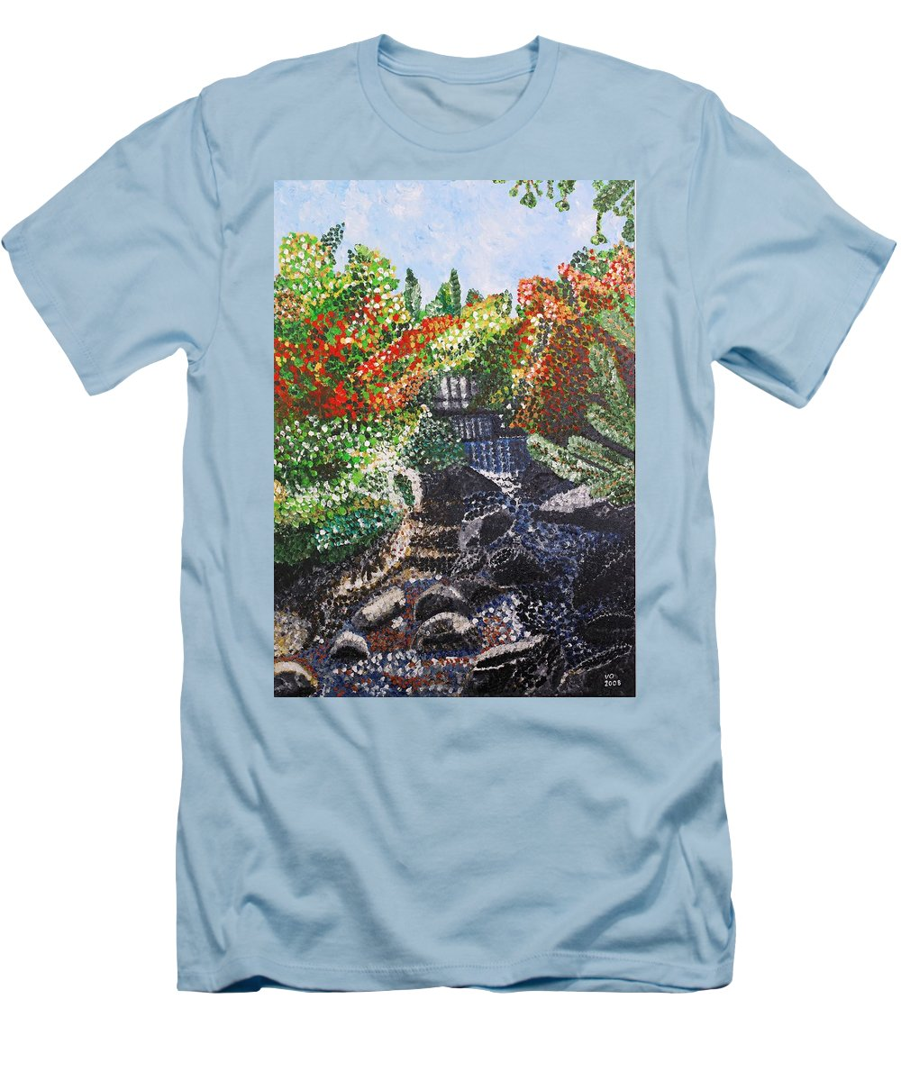 Landscape Men's T-Shirt (Athletic Fit) featuring the painting Botanic Garden Merano 1 by Valerie Ornstein