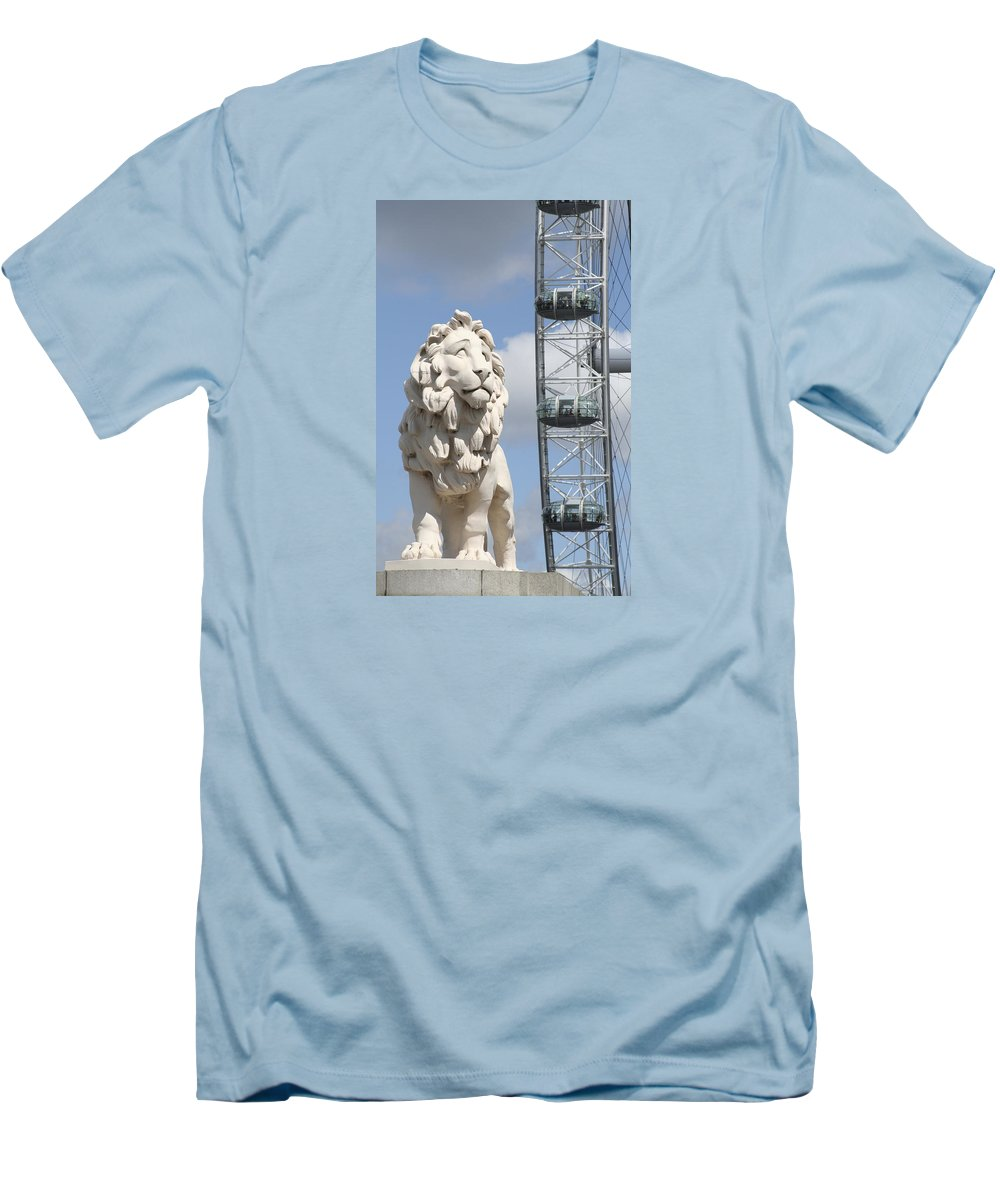 Lion Men's T-Shirt (Athletic Fit) featuring the photograph Britannia Lion by Margie Wildblood