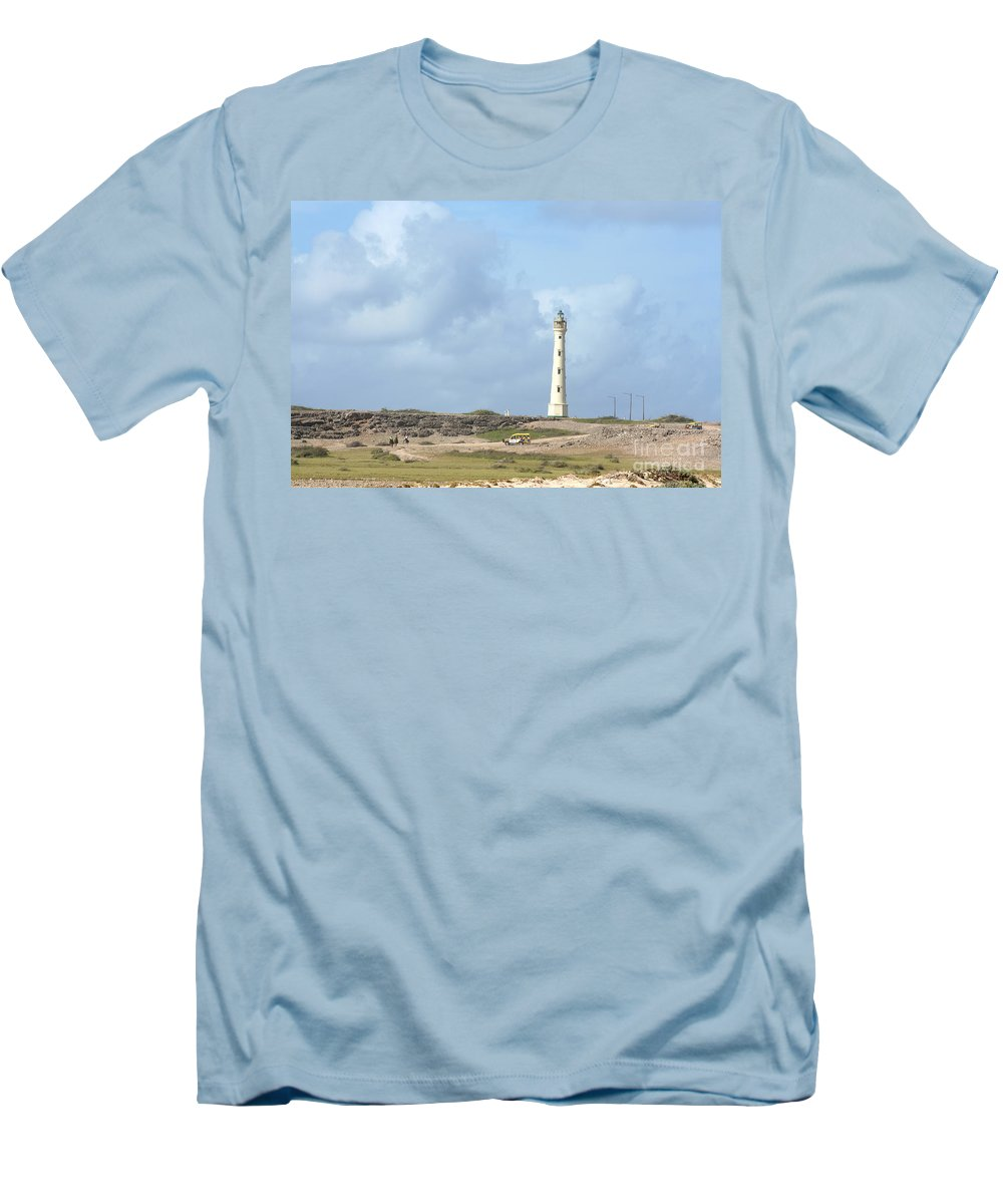 Aruba Men's T-Shirt (Athletic Fit) featuring the photograph California Lighthouse by Thomas Marchessault