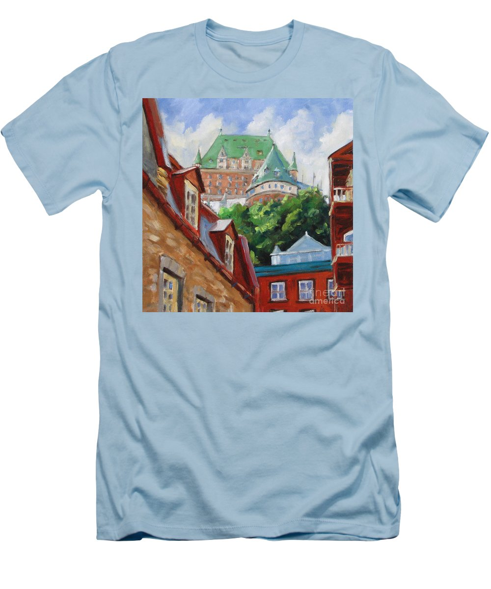 Chateau Frontenac Men's T-Shirt (Athletic Fit) featuring the painting Chateau Frontenac by Richard T Pranke