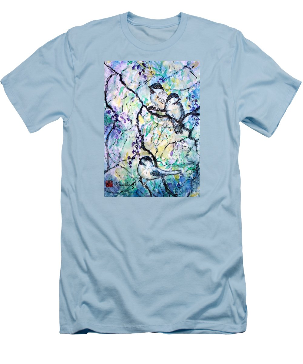 Birds Men's T-Shirt (Athletic Fit) featuring the painting Chickadees by Norma Boeckler
