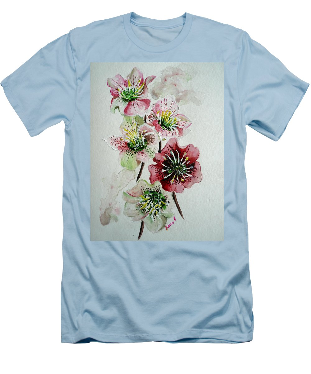 Floral Flower Pink Men's T-Shirt (Athletic Fit) featuring the painting Christmas Rose by Karin Dawn Kelshall- Best