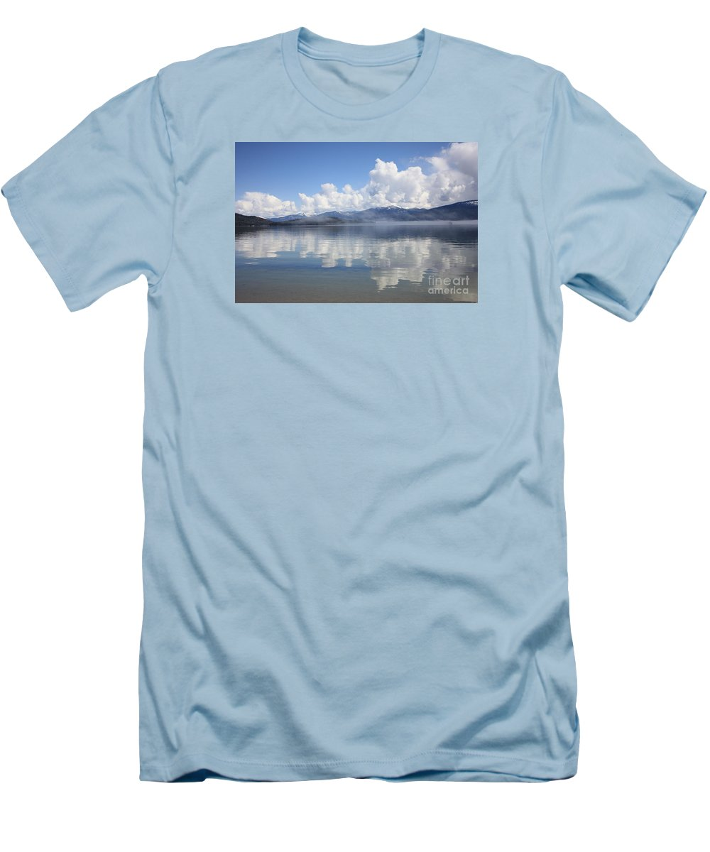 Clouds Men's T-Shirt (Athletic Fit) featuring the photograph Cloud Reflection On Priest Lake by Carol Groenen