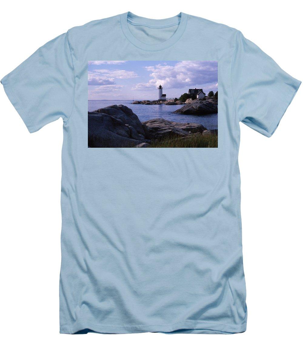Landscape Lighthouse New England Annisquam Harbor Light Gloucester Men's T-Shirt (Athletic Fit) featuring the photograph Cnrf0903 by Henry Butz