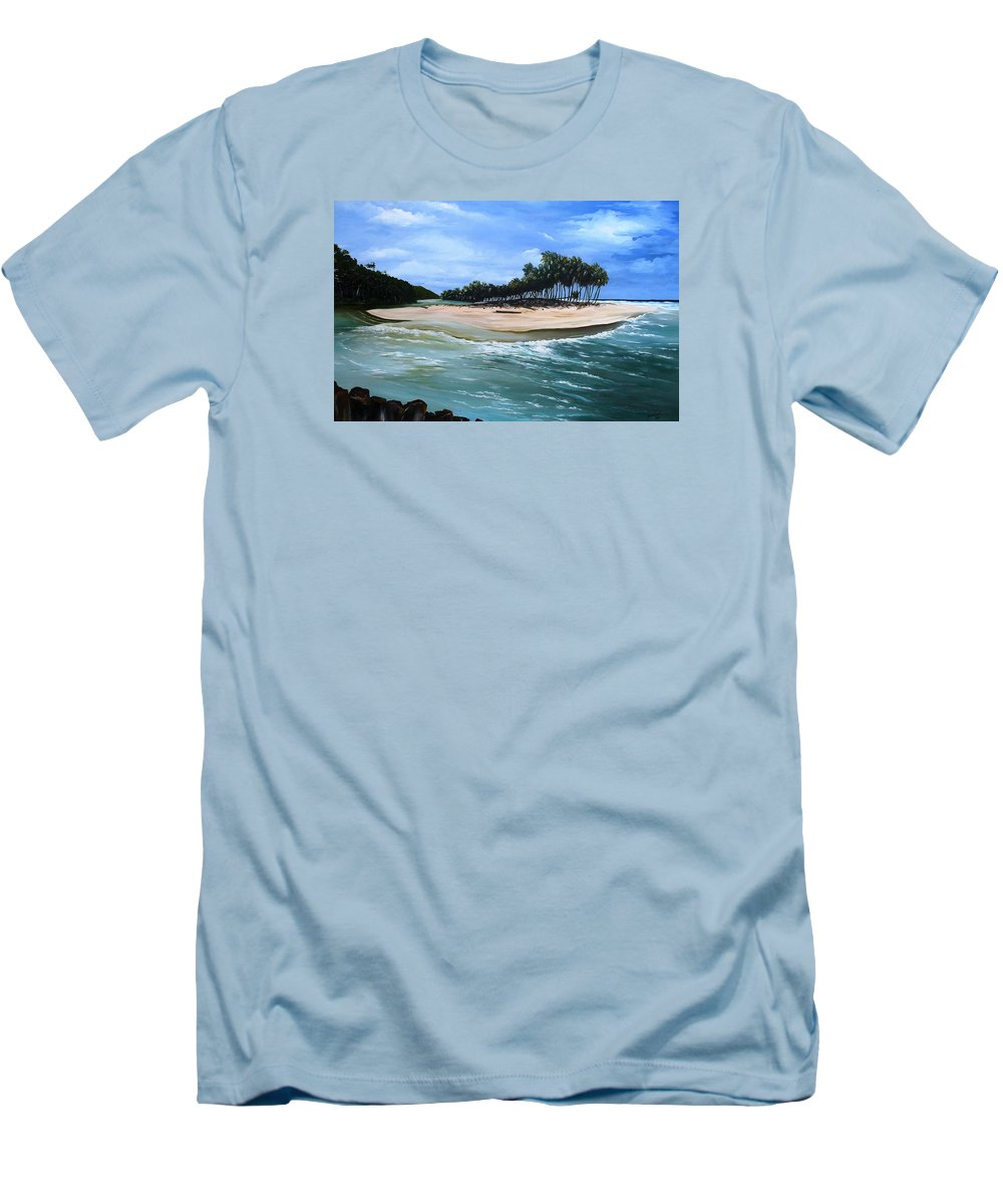 Ocean Paintings Sea Scape Paintings  Beach Paintings Palm Trees Paintings Water Paintings River Paintings  Caribbean Paintings  Tropical Paintings Trinidad And Tobago Paintings Beach Paintings Men's T-Shirt (Athletic Fit) featuring the painting Cocos Bay Trinidad by Karin Dawn Kelshall- Best