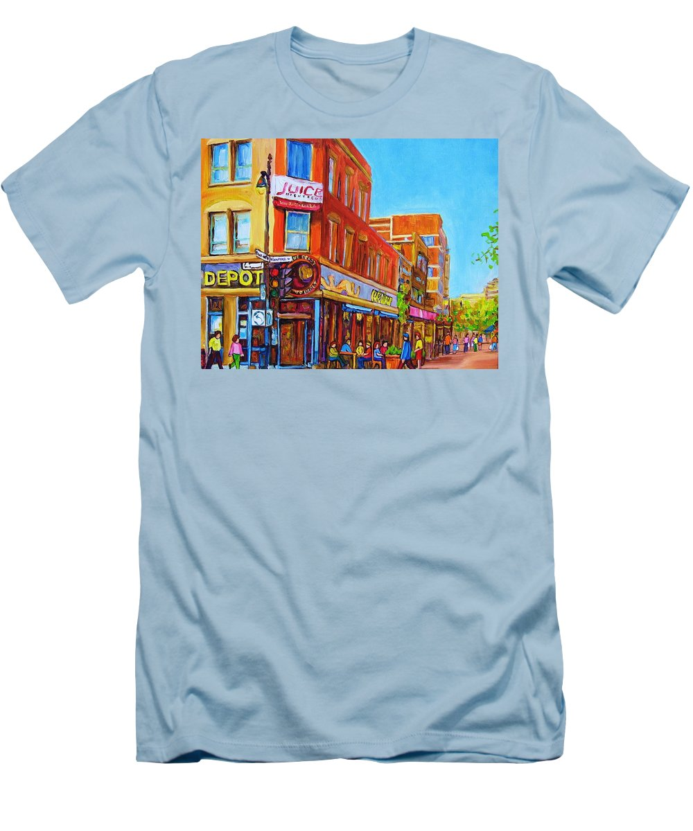 Cityscape Men's T-Shirt (Athletic Fit) featuring the painting Coffee Depot Cafe And Terrace by Carole Spandau