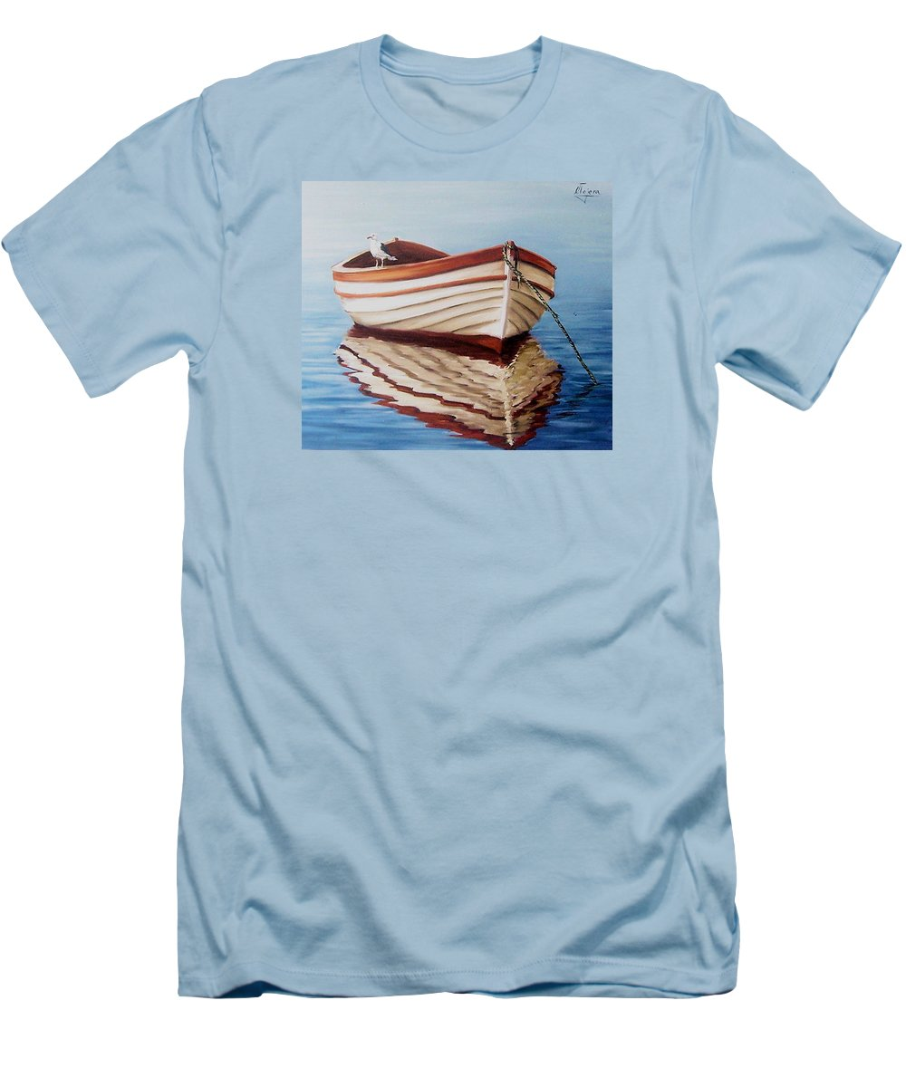 Sea Seascape Boat Reflections Water Ocean Seagull Bird Men's T-Shirt (Athletic Fit) featuring the painting Contemplative by Natalia Tejera