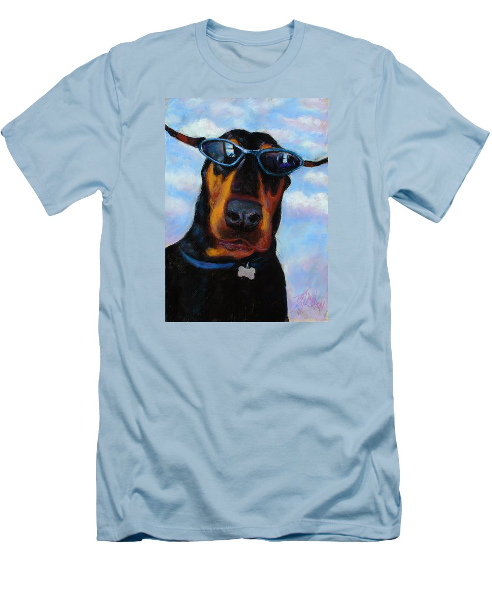 Doberman Pincher Art Men's T-Shirt (Athletic Fit) featuring the painting Cool Dob by Billie Colson